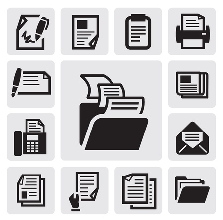 carpetas: icono de documento Vectores