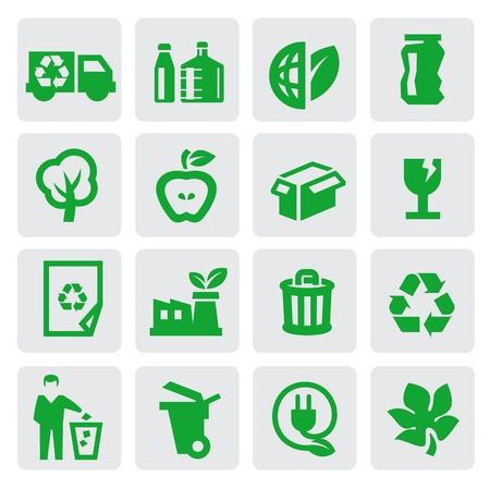 recyclage plastique: ic�nes d'�nergie �cologiques Illustration