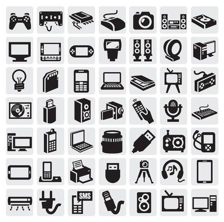 black appliances: dispositivi elettronici di icone