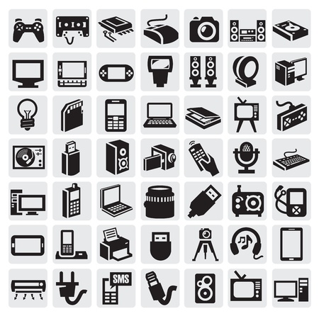 black appliances: electronic devices icons