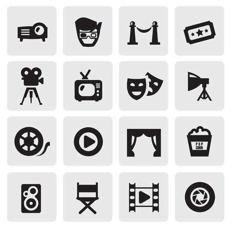 theater: filmpictogrammen Stock Illustratie