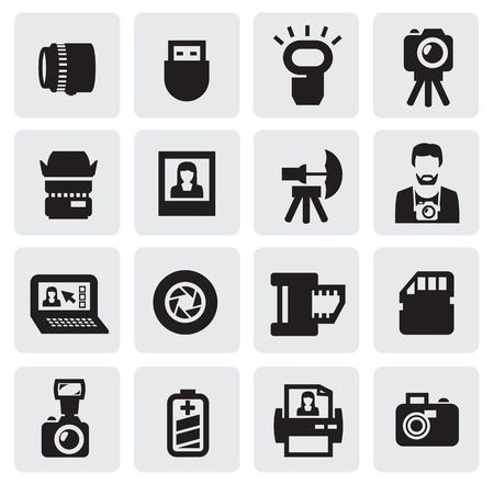 camera lens: photo icons Illustration