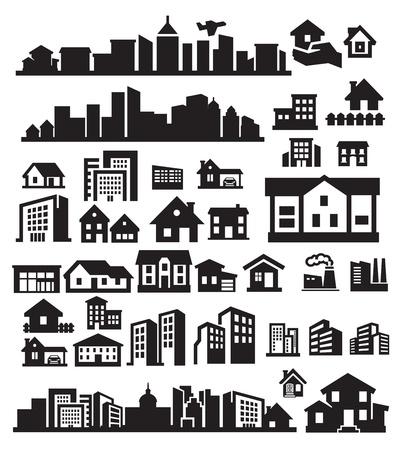 épület: házak ikonok Illusztráció