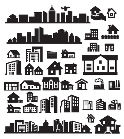 houses icons Stock Vector - 15963358