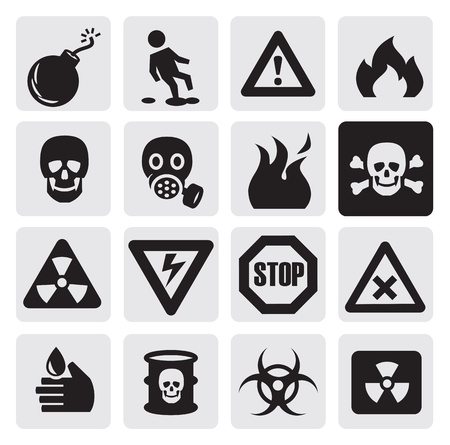 nuclear bomb: danger icons Illustration