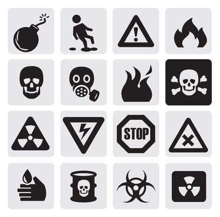mascara de gas: iconos de peligro