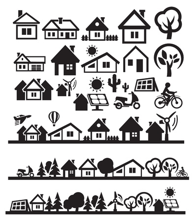 exterior element: houses icons