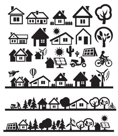 silhouette maison: icônes maisons