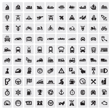 big transportation icons Stock Vector - 15963359