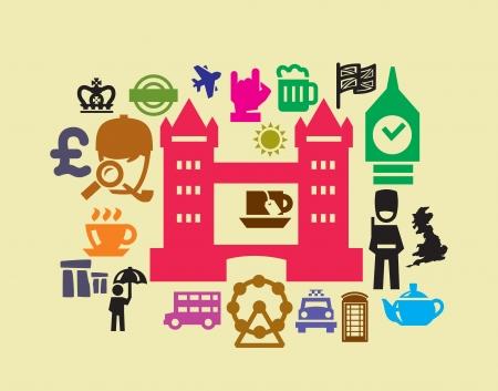 british culture: Iconos de Londres Vectores