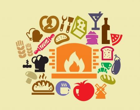 button mushroom: Food icon set Illustration