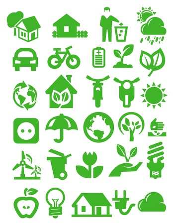 eco icons Stock Vector - 16054934