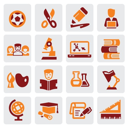 education icons Stock Vector - 16135420