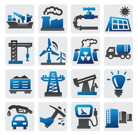 blue industry icons set on gray Stock Vector - 16359117
