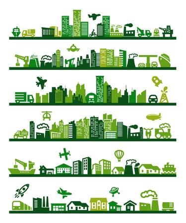 근교: 녹색 도시 일러스트