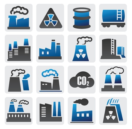 factory icons Stock Vector - 16359120