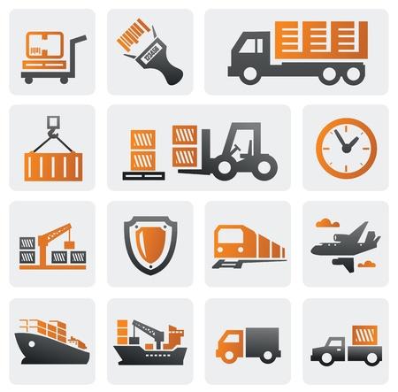 camion grua: Logística y transporte conjunto de iconos