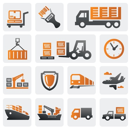 cargo container: Logistic and shipping icon set Illustration