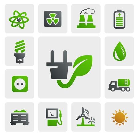 eco energy icons Stock Vector - 16690972
