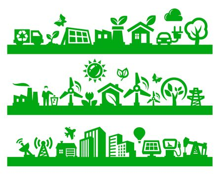 eco house: green city icons Illustration