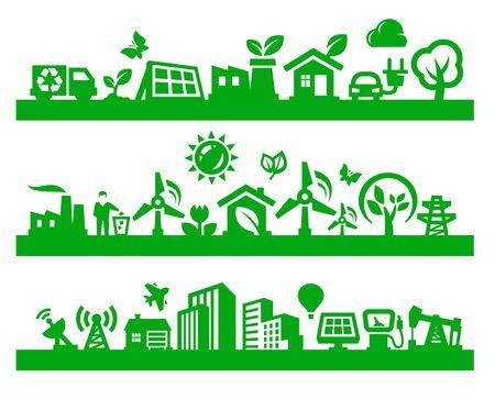 eco car: groene stad pictogrammen Stock Illustratie