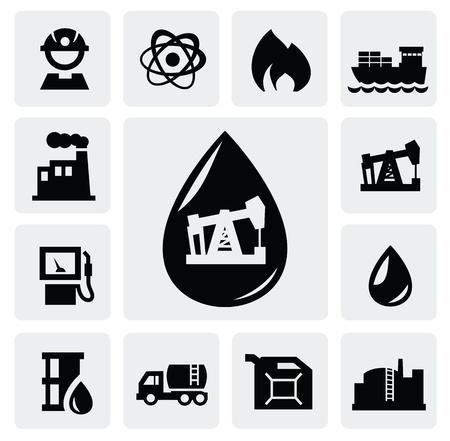 oil well: Iconos del petr�leo Vectores