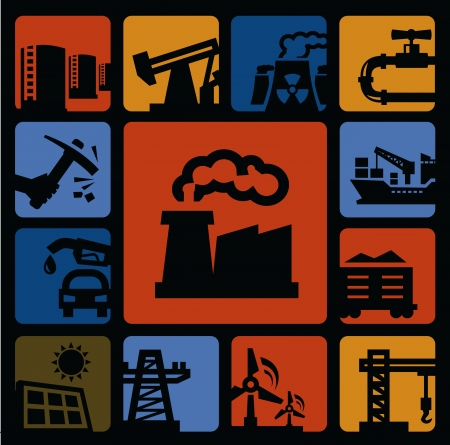 coal plant: industry icons set