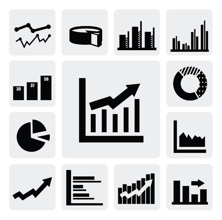 bell curve: business graph icons
