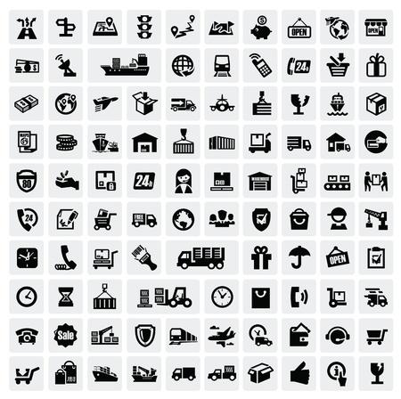 logística y transporte iconos