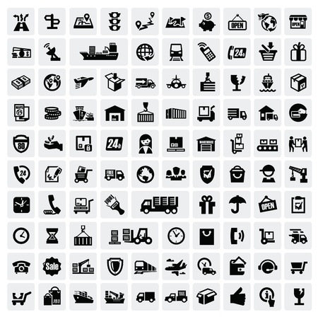 ship parcel: logistic and shipping icons