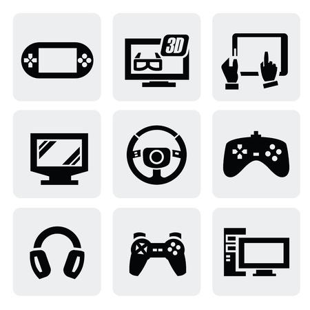 video gaming: Video game icons set Illustration