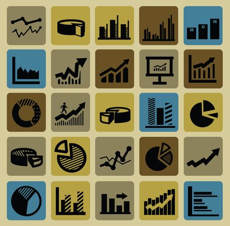 business graph icons Vector