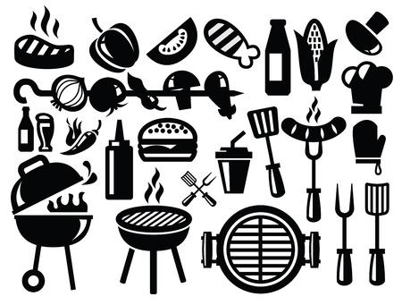barbecue icone Vettoriali