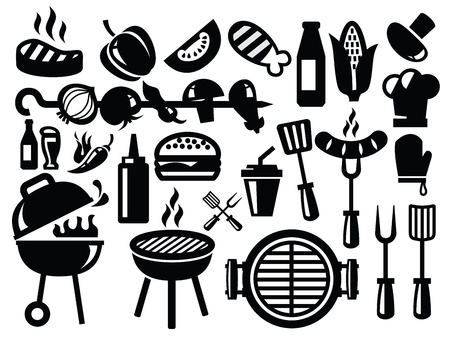 chicken grill: barbecue icons