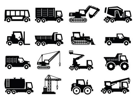 motor de carro: Iconos de la construcci�n de transporte Vectores