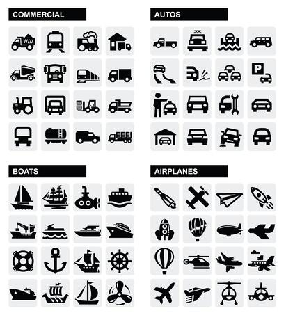 barco caricatura: iconos de transporte Vectores