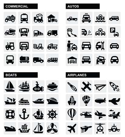 transport: vervoer iconen