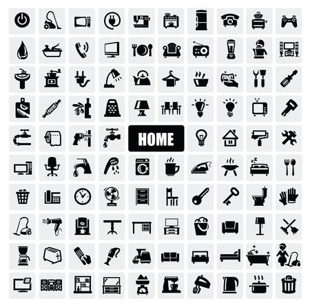 black appliances: elettrodomestici icone Vettoriali