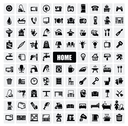 black appliances: home appliances icons Illustration