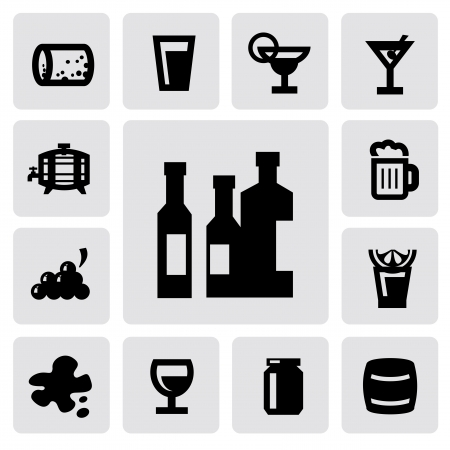 whisky glass: beverages icons Illustration