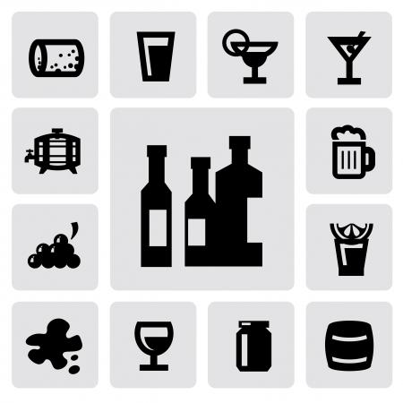 barrels set: beverages icons Illustration