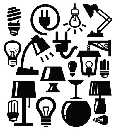 spotlight lamp: lampada icone Vettoriali