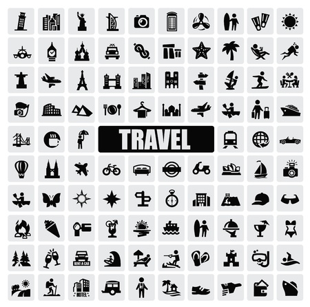 resorts: travel and landmarks Illustration