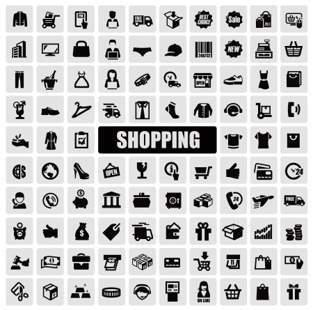 shops: shopping icons