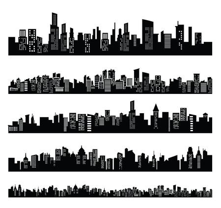 silueta: negro ciudad Vectores