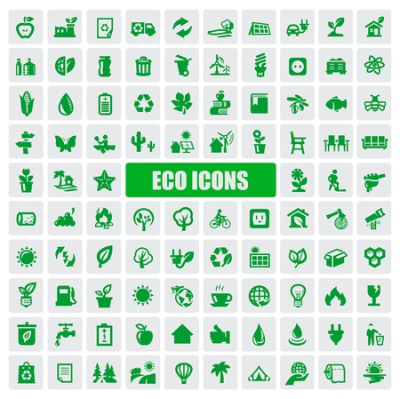 energy buttons: eco icons Illustration