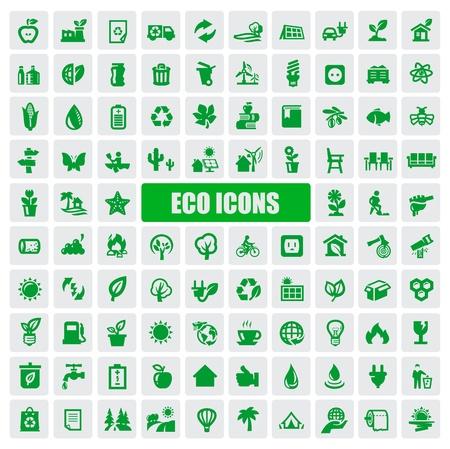 eco car: iconos de eco