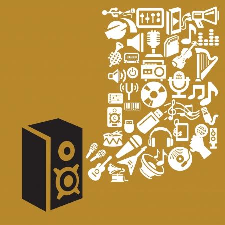 earphones: music theme Illustration
