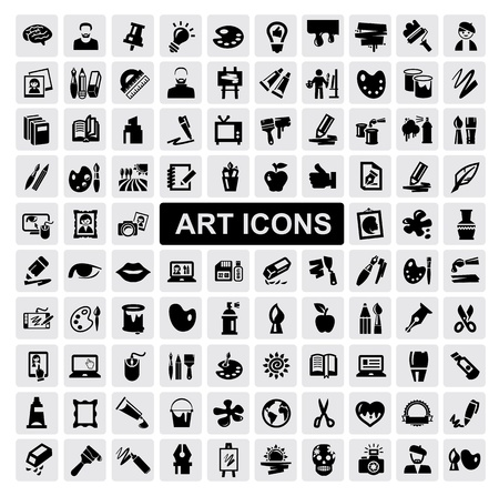 artists mannequin: art Icons set Illustration