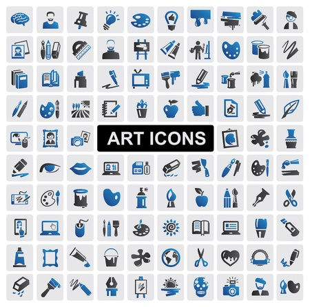 digitizer: art Icons set Illustration